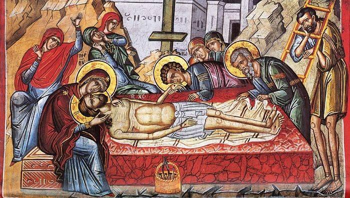Великая Пятница. Оплакивание Христа. Фреска монастыря Дионисиат, Афон
